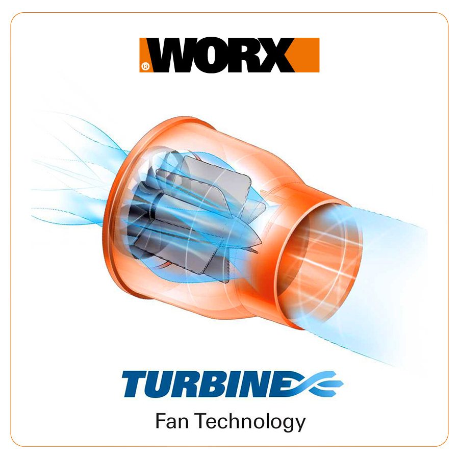 Схема работы WORX TURBINE Fan Technoogy