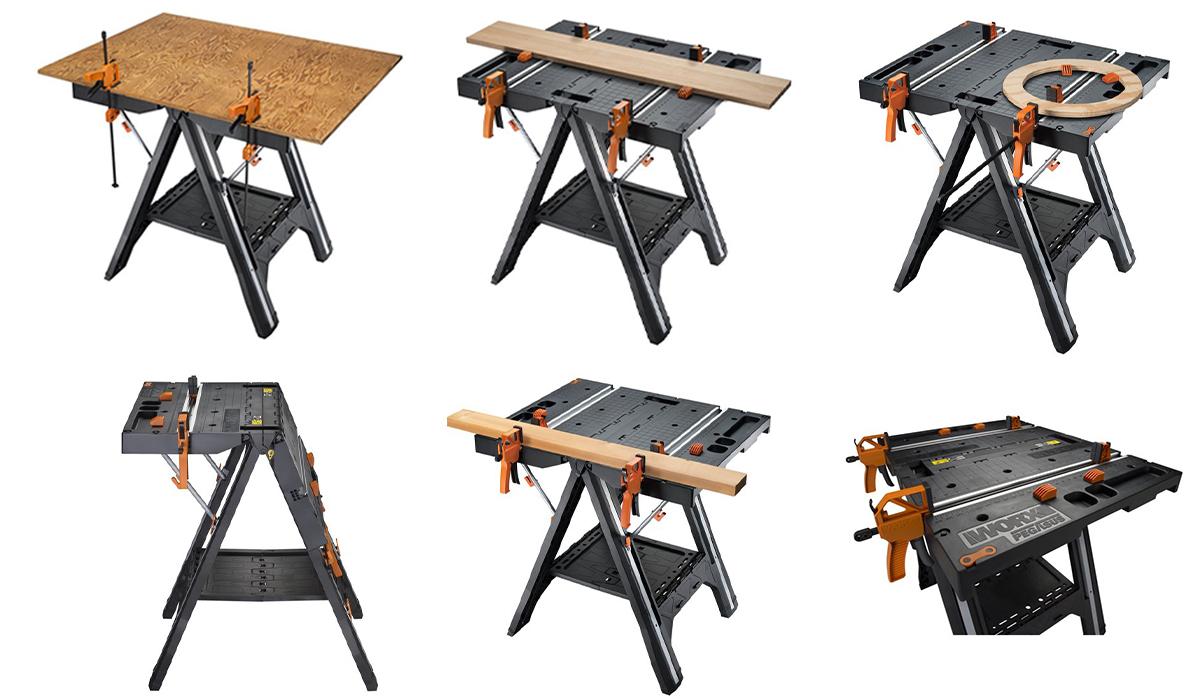 Зажимы стола позволяют работать в горизонтальном и в вертикальном положении