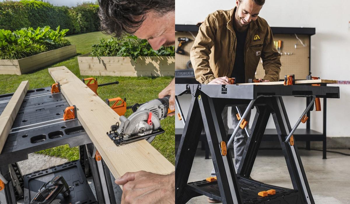 Прочная и устойчивая конструкция стола позволяет использовать его для столярных и строительных работ, как в помещении, так и на улице