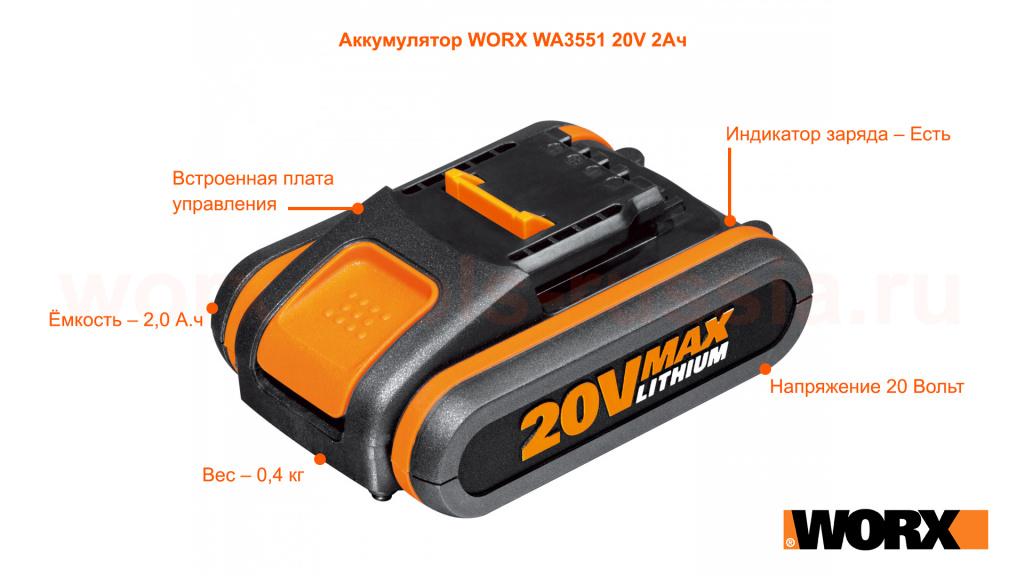 Аккумулятор WORX WA3551 20V 2Ач
