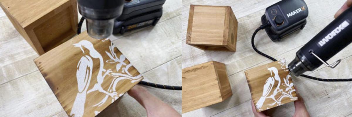 Возьмите мини-фен WORX MAKER X WX743.9 20V, подключите его к одному из специальных адаптеров. Держите прибор, как карандаш и включите его. Совершайте движения нагретым инструментом над деревянной поверхностью с порошком, пока не увидите, что порошок изменил цвет. Не держите нагретый                 прибор слишком близко к дереву, во-избежание сжигания порошка.