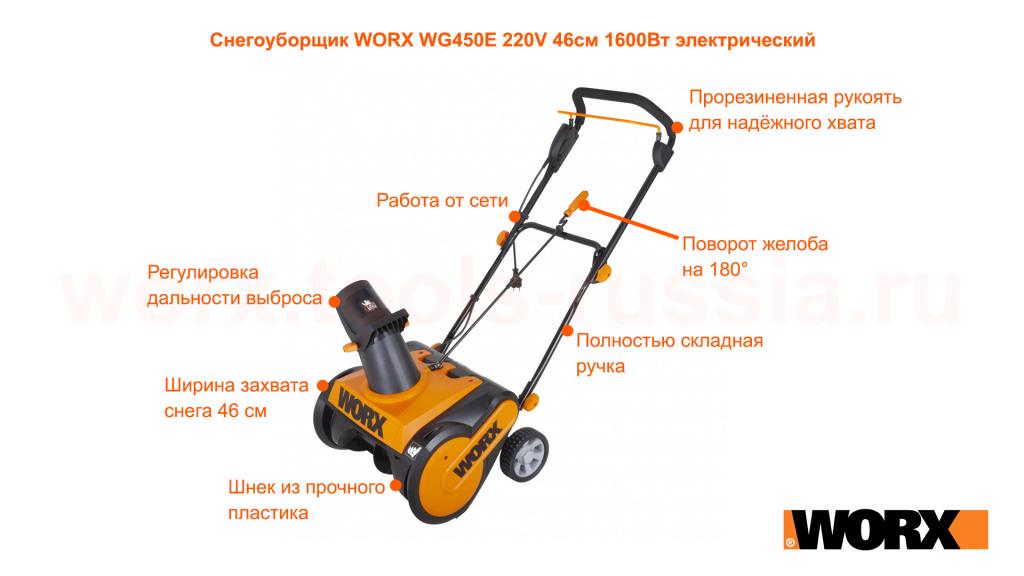 Снегоуборщик WORX WG450E 220V 46см 1600Вт электрический