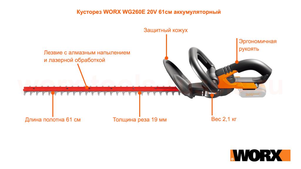 Кусторез WORX WG260E 20V 61см аккумуляторный