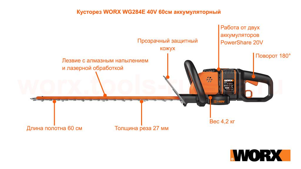 Кусторез WORX WG284E 40V 60см аккумуляторный