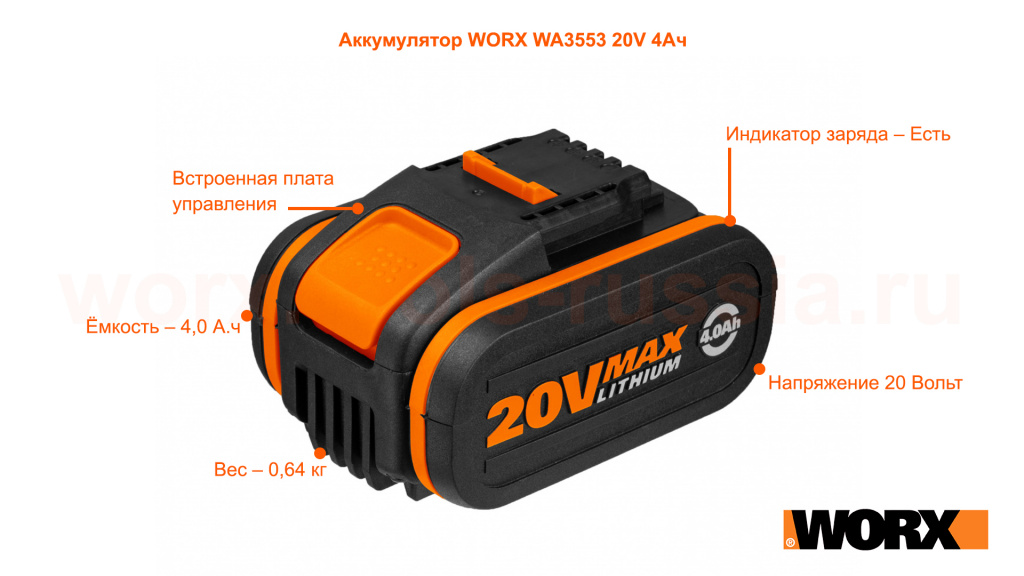 Аккумулятор WORX WA3553 20V 4Ач