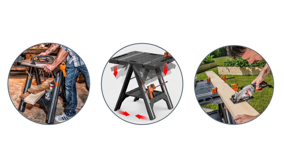 Вы можете использовать универсальный рабочий стол WORX WX051 Pegasus для работы в мастерской и на свежем воздухе.