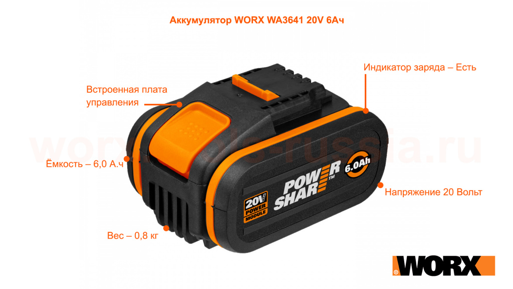 Аккумулятор WORX WA3641 20V 6Ач