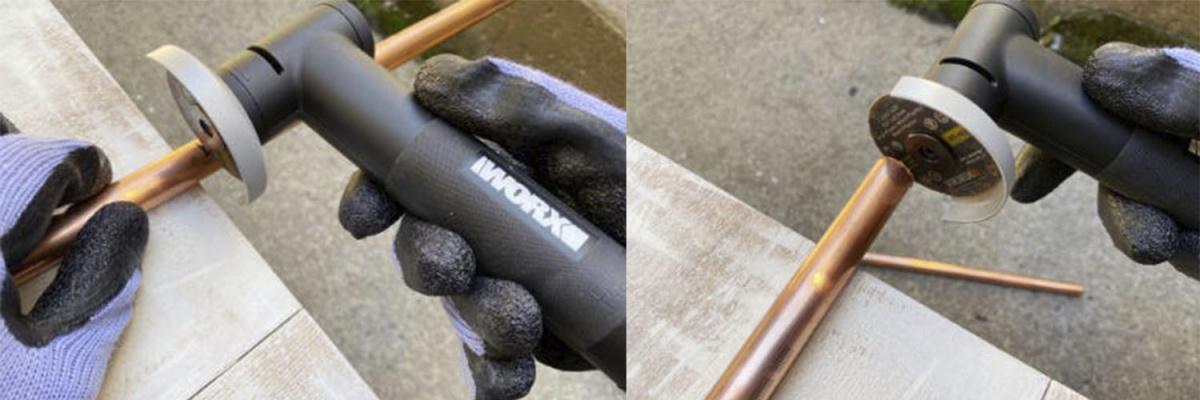 Возьмите мини-углошлифовальную машинку WORX MAKER X WX741.9 20V и подключите                 ее к одному из специальных адаптеров. Поместите трубу на край поверхности и начните резать трубу на отмеченном месте. Медленно поверните трубу, сохраняя при этом угол шлифовальной машины.
