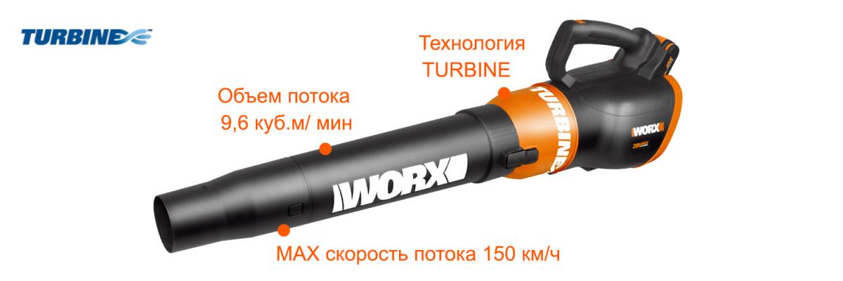 Аккумуляторная воздуходувка WORX WG546E 20V Air Turbine 150 км/ч